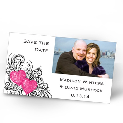 Hearts and Flourishes - Lipstick and Black - Photo Save the Date Magne