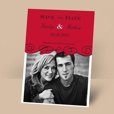 Beneath the Swirls - Barn Red - Photo Save the Date Magnet