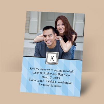 Pretty in Plaid - Cornflower - Photo Save the Date Magnet