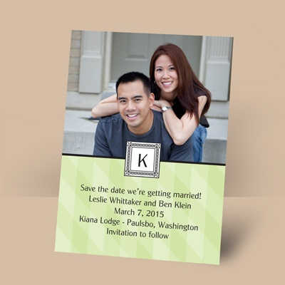 Pretty in Plaid - Leaf - Photo Save the Date Magnet