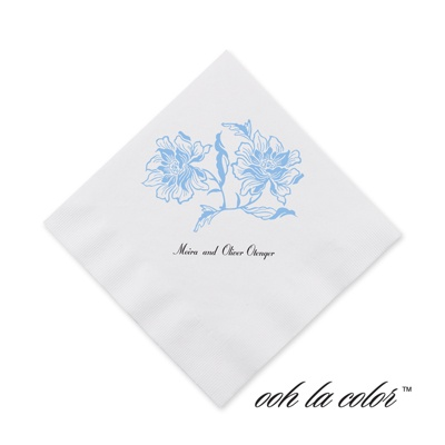 Flowers and Flourishes - Cornflower - Cocktail Napkin