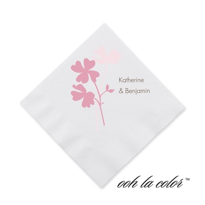 Floral Shadow - Salmon - Cocktail Napkin