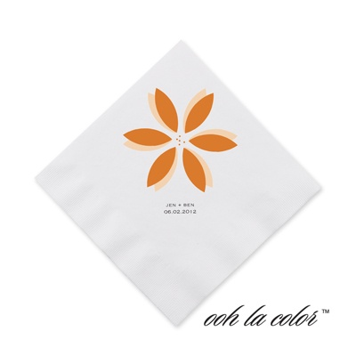 Floral Delight - Tangerine - Cocktail Napkin
