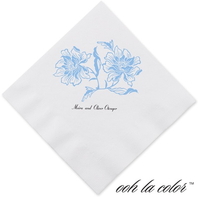 Flowers and Flourishes - Cornflower - Dinner Napkin