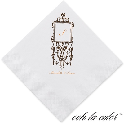Framed Monogram - Chocolate - Dinner Napkin