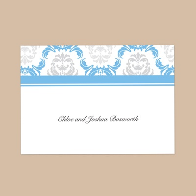 Damask Arches - Cornflower - Thank You Note Folder and Envelope