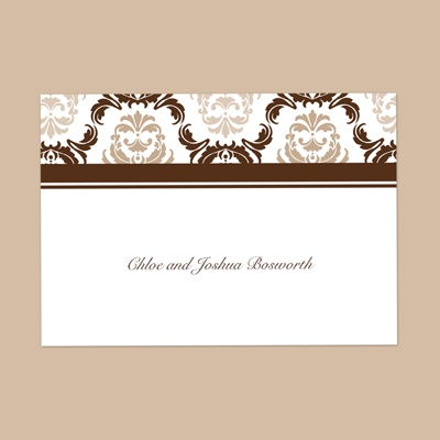 Damask Arches - Chocolate - Thank You Note Folder and Envelope