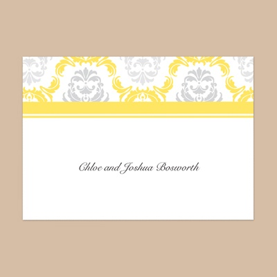 Damask Arches - Canary - Thank You Note Folder and Envelope