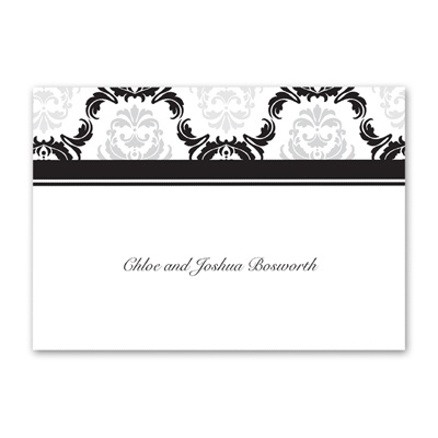 Damask Arches - Black - Thank You Note Folder and Envelope