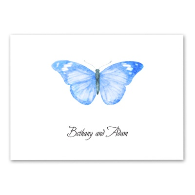 Butterfly in Blue - Thank You Note Folder and Envelope