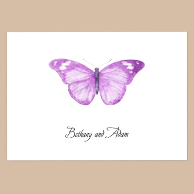 Butterfly in Grapevine - Thank You Note Folder and Envelope