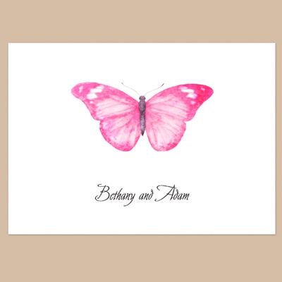 Butterfly in Lipstick - Thank You Note Folder and Envelope