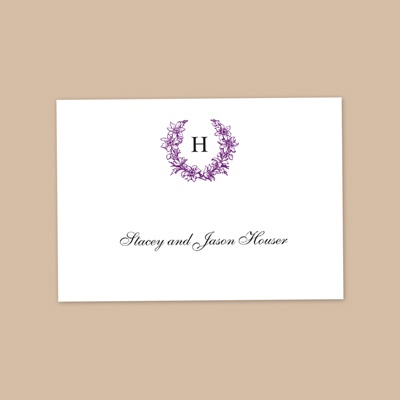 Floral Crest - Grapevine - Thank You Note Folder and Envelope