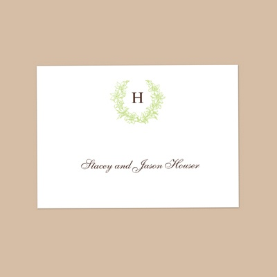 Floral Crest - Leaf - Thank You Note Folder and Envelope