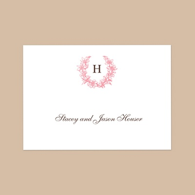 Floral Crest - Petal - Thank You Note Folder and Envelope