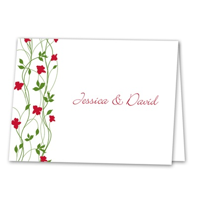 Climbing Vines - Barn Red - Thank You Note Folder and Envelope