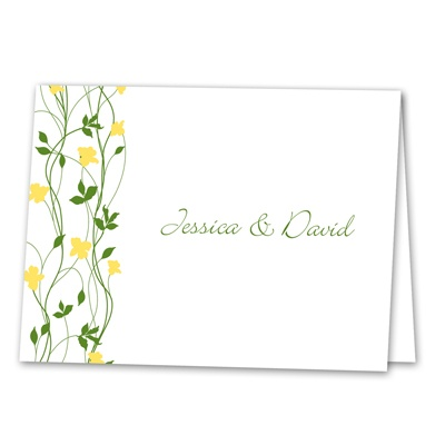Climbing Vines - Canary - Thank You Note Folder and Envelope