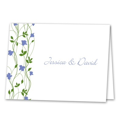 Climbing Vines - Hydrangea - Thank You Note Folder and Envelope