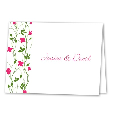 Climbing Vines - Fuchsia - Thank You Note Folder and Envelope