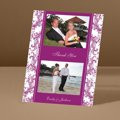 Enchanted Border - Amethyst - Thank You Card