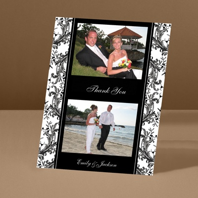 Enchanted Border - Ebony - Thank You Card