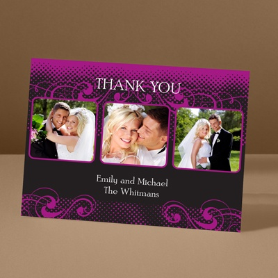 Photos and Flourishes - Amethyst - Photo Thank You Card and Envelope