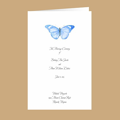 Butterfly in Blue - DIY Wedding Program