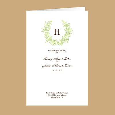 Floral Crest - Leaf - Wedding Program