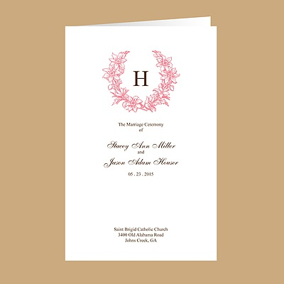 Floral Crest - Petal - DIY Wedding Program