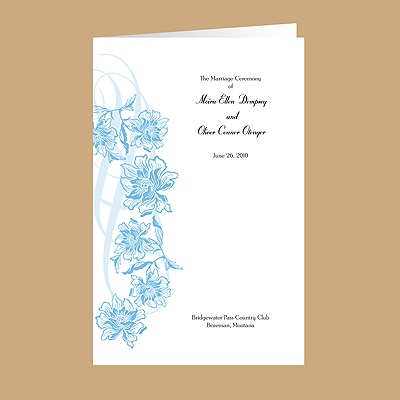 Flowers and Flourishes - Cornflower - DIY Wedding Program