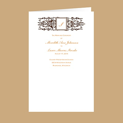 Framed Monogram - Chocolate - DIY Wedding Program