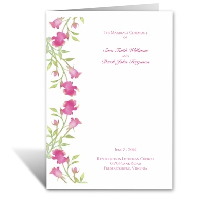 Watercolor Roses - Lipstick - Wedding Program