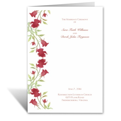 Watercolor Roses - Scarlet - Wedding Program