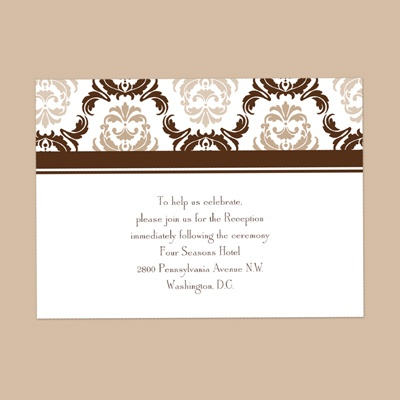 Damask Arches - Chocolate - Reception Card