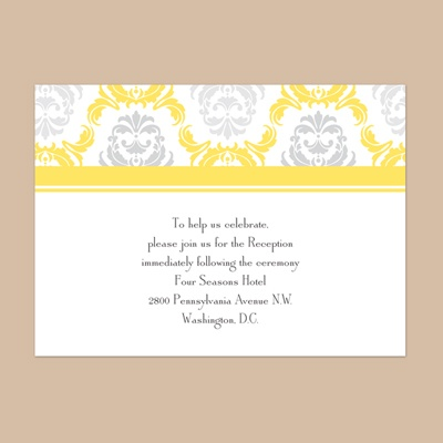 Damask Arches - Canary - Reception Card