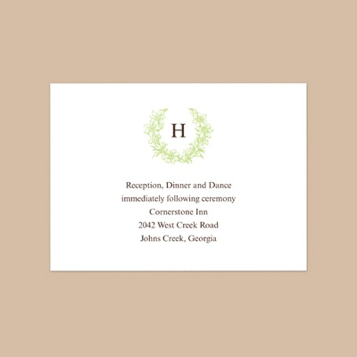 Floral Crest - Leaf - Reception Card