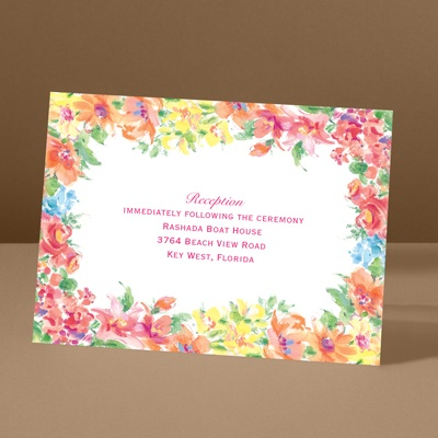 Brilliant Florals - Pink - Reception Card
