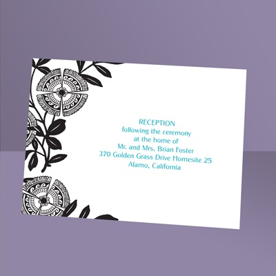 Modern Floral - Ebony - Reception Card