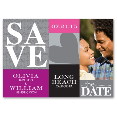 Blocks of Color - Photo Save the Date Card