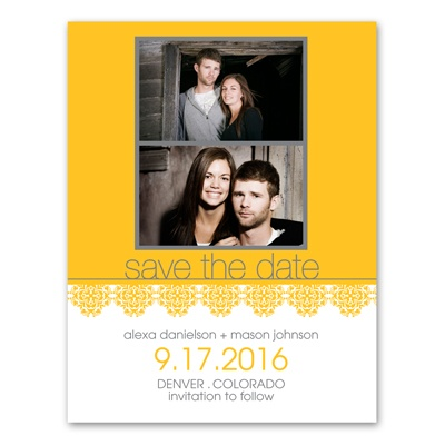 Lace Border - Photo Save the Date Card