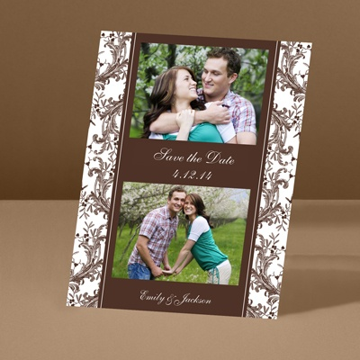 Enchanted Border - Chocolate - Save the Date Card