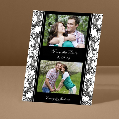 Enchanted Border - Ebony - Save the Date Card