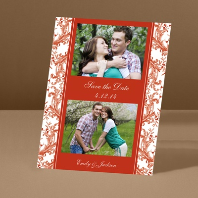 Enchanted Border - Scarlet - Save the Date Card