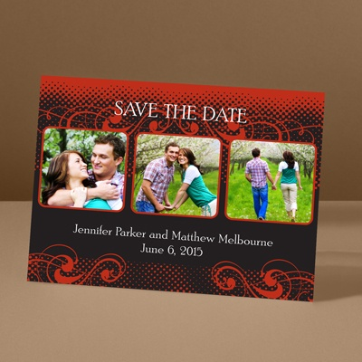 Photos and Flourishes - Scarlet - Photo Save the Date Card