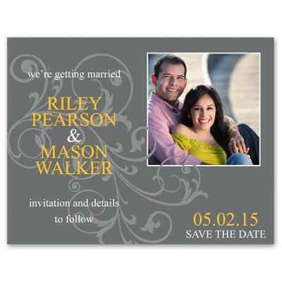 Pewter Flourish - Photo Save the Date Card