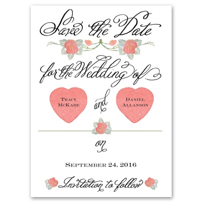 Rosy Romance - Photo Save the Date Card