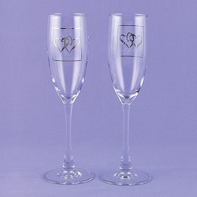 Silver Hearts Flutes - Personalized