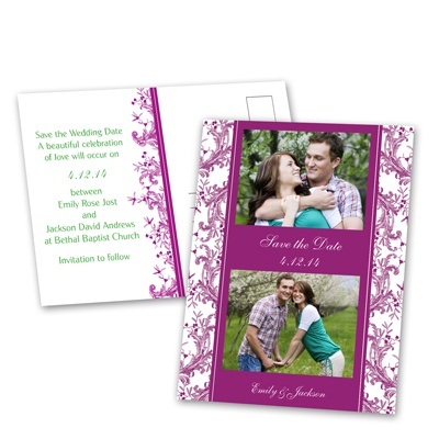 Enchanted Border - Amethyst - Save the Date Postcard