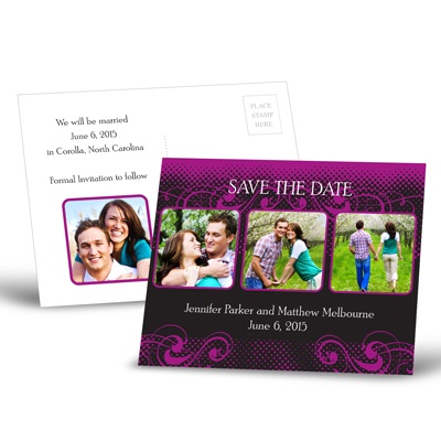 Photos and Flourishes - Amethyst - Save the Date Postcard
