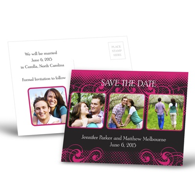 Photos and Flourishes - Lipstick - Save the Date Postcard